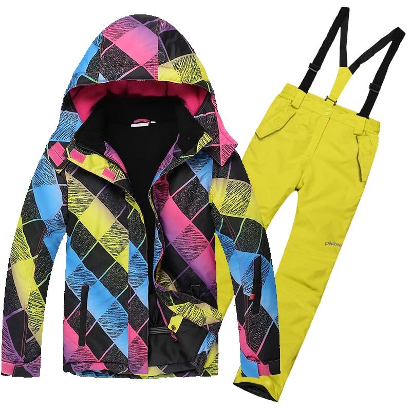 Dollplus 2018 New Boys Set Children Waterproof Windproof Clothing Kids Winter Warm Snowboard Outdoor Sport Suits for Girls