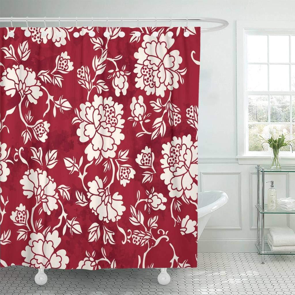 Retro Garden Flowers Scenery Shower Curtain Liner Bathroom Mat Waterproof Fabric