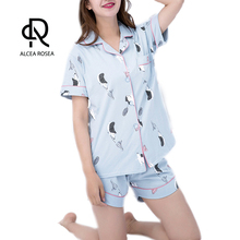 aa007d1bc6f2 Alcea Rosea Summer Cotton Cardigan Pajamas With Shorts Turn-down Collar  Printed Cute Hedgehog For