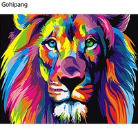 Frameless Colorful Lions Animals DIY Painting By Numbers Unique Gift Modern Wall Art Linens Painting For