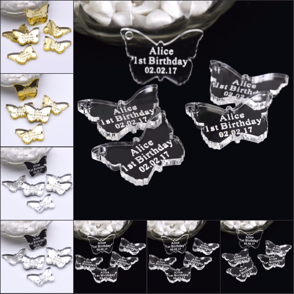 60 Pcs Personalized Engraved Mirror / Clear Acrylic Butterfly Centerpieces  Wedding Table Decoration Favors Customized Size