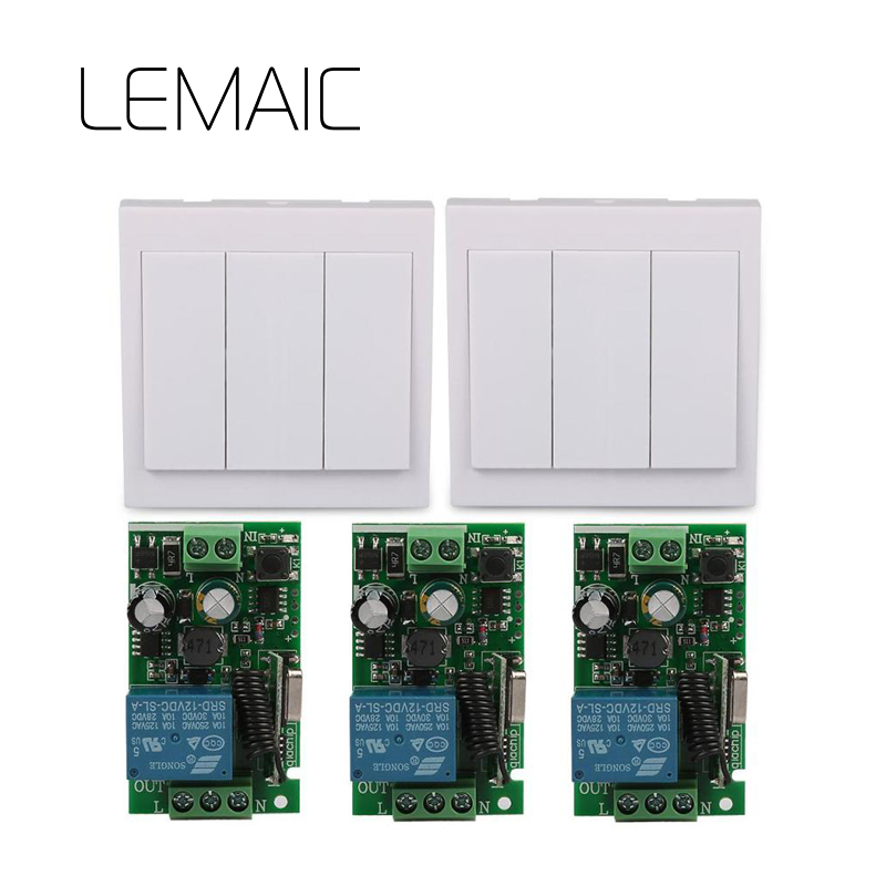 LEMAIC 433 Mhz Wireless RF 86 Wall Panel Transmitter and AC 110V 220V 3 Channel Remote Control Switch Receiver Hall Light S35 ac 220v 110v1ch 3 receiver