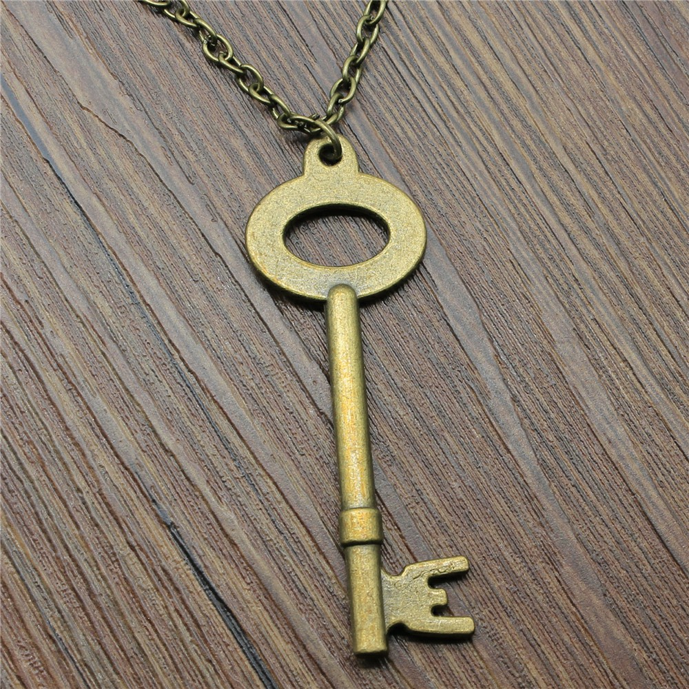 Jewelry Necklace For Women Antique Bronze 64x25mm Big Key Pendants Necklace Female Gift Vintage