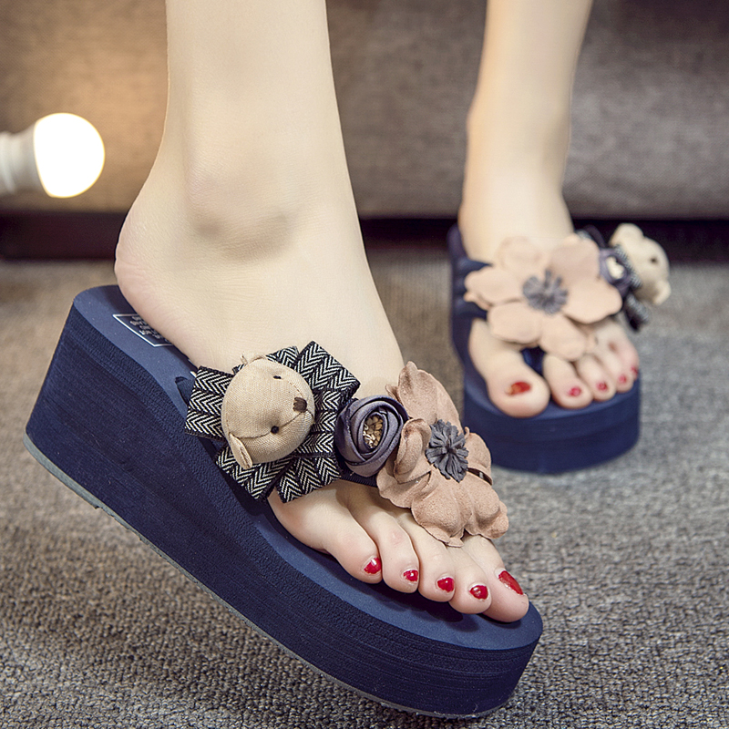 Plus Size 35 42 Women Sandals 100 Handmade Flower Summer Wedges Beach Shoes Flip Flops Platform Slippers Shoes in Flip Flops from Shoes