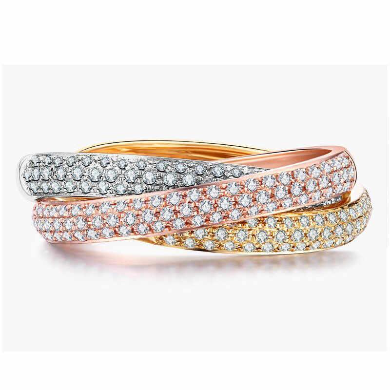 Choucong Charme 3-em-conjunto Anel 925 sterling silver Pave configuração 1 AAAAA cz Anéis de Noivado Banda Para mulheres de Jóias de Casamento