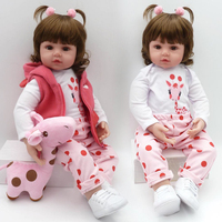 NPK Lifelike Collection Sleeping Baby Doll Reborn Silicone Body Doll Baby Simulation Doll Play House Toy Cute Doll 58CM big size