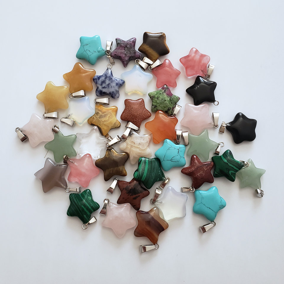Wholesale 50pcs/lot 2018 Hot Sale Fashion Assorted Natural Stone Mixed Star Charms Pendants For DIY Jewelry Making Free Shipping