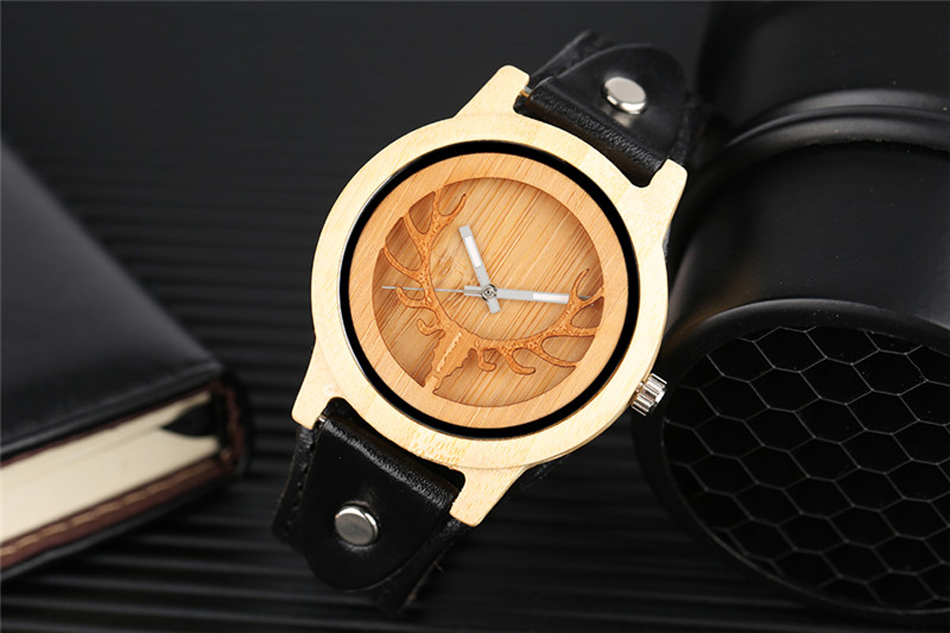 YISUYA Deer Wooden Watch Men's Bamboo Leather Wood Quartz Watches Gift relogio de madeira (4)