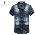 Men Jeans Shirt Cotton Thin Short Sleeve Denim Shirts Men's Single Breasted Patchwork Cowboy Camisas Chemise Masculina Homme