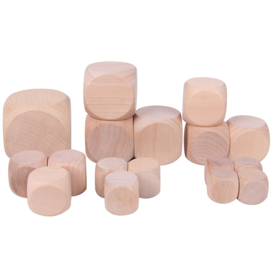 10pcs/lot 6 Sided Blank Wood Dice Party Family DIY Games Printing Engraving Kid Toys 6 Size