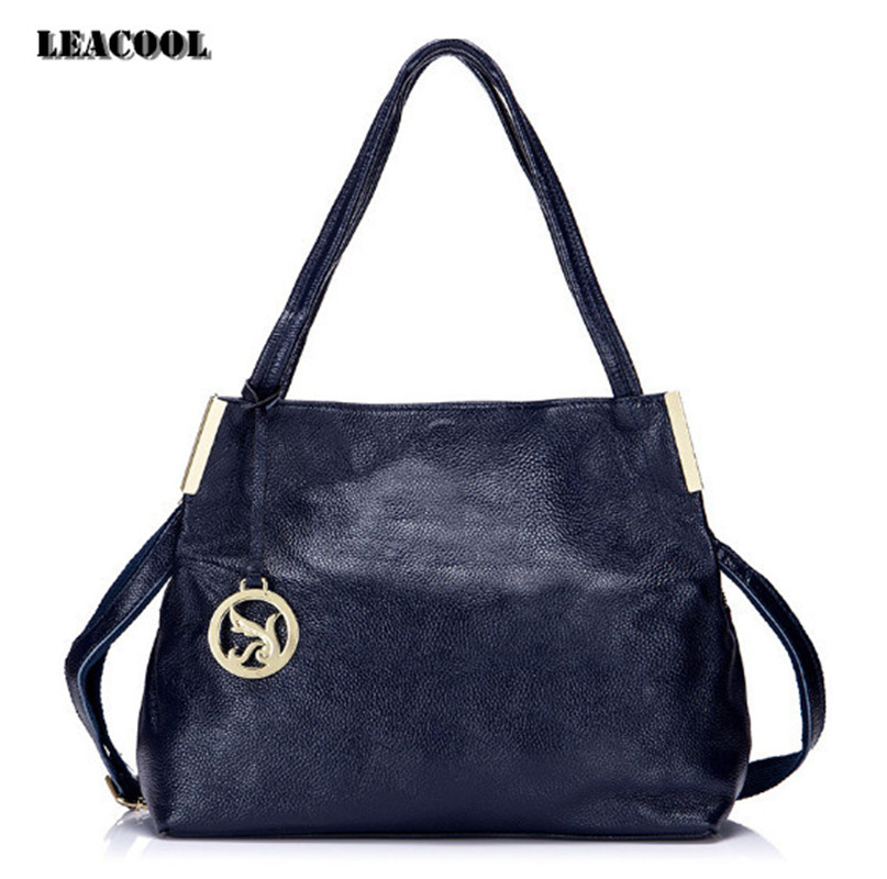 LEACOOL Fashion Designer Women Handbag Genuine Leather Bags Handbags Ladies Portable Shoulder Bag Office Ladies Hobos Bag Totes luxury genuine leather bag fashion brand designer women handbag cowhide leather shoulder composite bag casual totes
