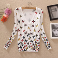 Free shipping 2017 Spring & autumn sweater women's air conditioning shirt Butterfly Print Slim knitted cardigan Open Casual Tops