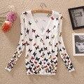 O envio gratuito de 2017 Spring & autumn sweater ar condicionado camisa da Borboleta das mulheres de Impressão Fino de malha cardigan Aberto Casual Tops