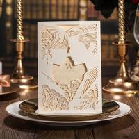 50pcs Pack New Elegant Wedding Invitations Card Laser Cut White Hollow Out Bride And Groom Engagement