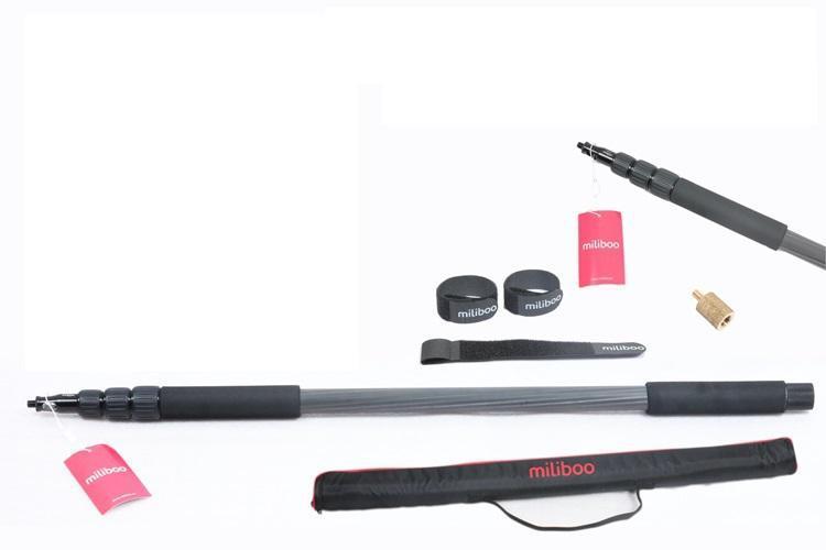 Miliboo portable carbon fiber 4 sections microphone pole Handheld Grip Support Rod Flash Light Boom microfonos de pertiga Holder ashanks mini carbon fiber handheld