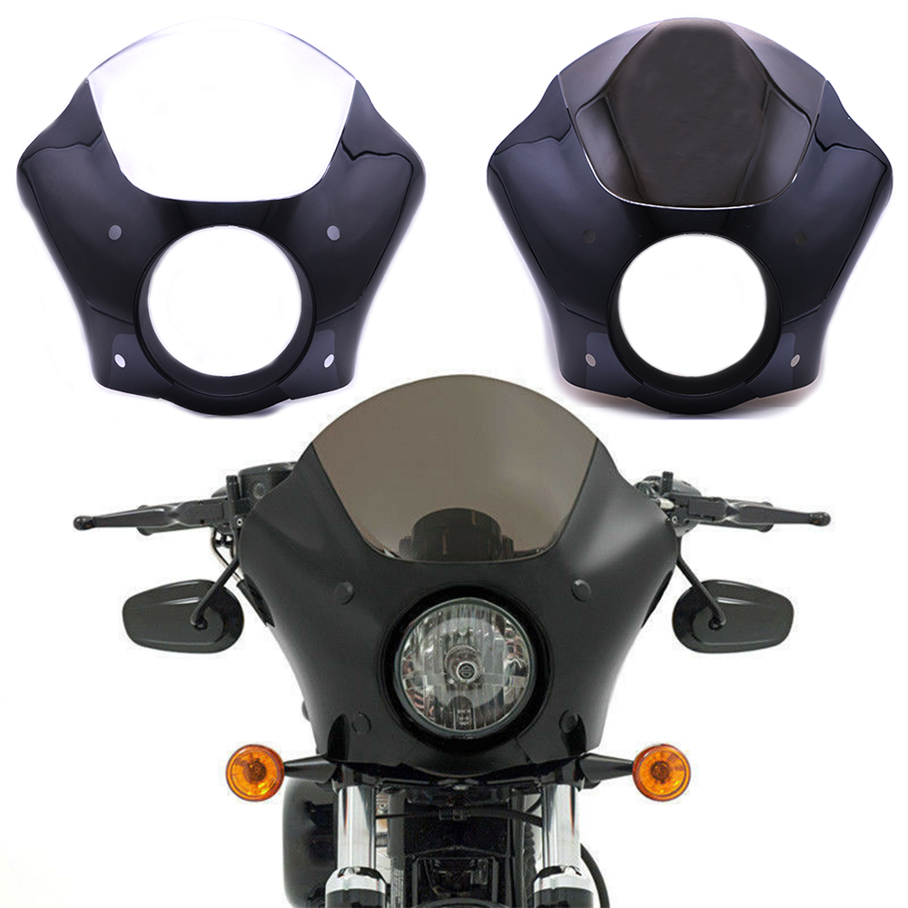 For Sportster XL883 XL1200 Road King Electra Glide Dyna Glossy Black Headlight Fairing Cowl Cover Mask