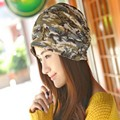 Women camouflage Sleeve Head Cap Lady Winter and autumn scarf multifunction hat Doll Style Party cap