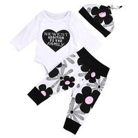 Autumn Winter Cute Newborn Baby Girls Clothes Cotton Tops Long Sleeve Romper Floral Leggings Pants Hat