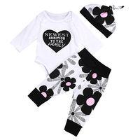 Autumn Winter Cute Newborn Baby Girls Clothes Cotton Tops Long Sleeve Romper Floral Leggings Pants Hat