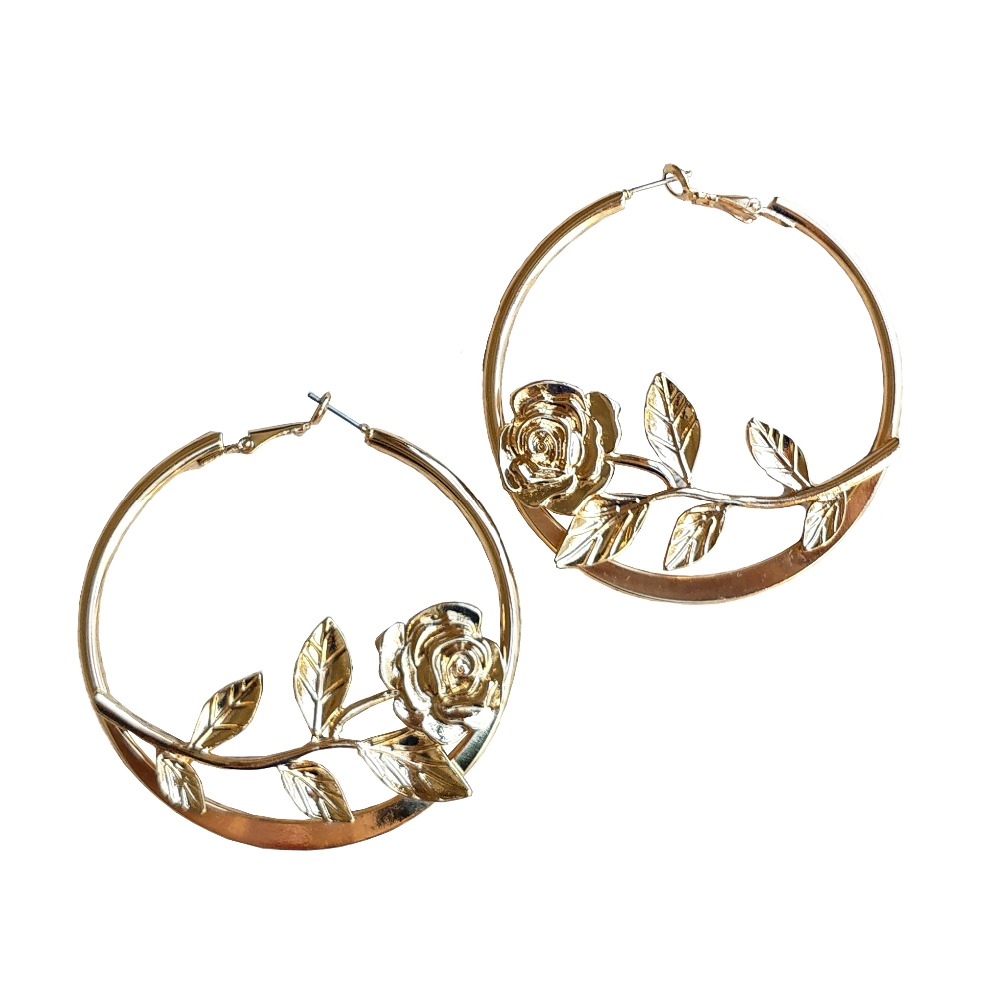 2019 Rosa Baixo-Relevo Earrings Gold Color Alloy Big Flower Rose Circle Personality Hoop Earrings Jewelry For women Gift HotSale circle