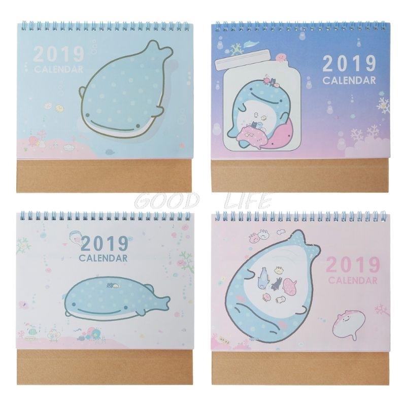 Ehrlich 2019 Cartoon Delphin Desktop Stehenden Spule Papier Kalender Memo Täglichen Zeitplan Tisch Planer Jährlich Agenda Organizer Aromatischer Geschmack Kalender, Planer Und Karten