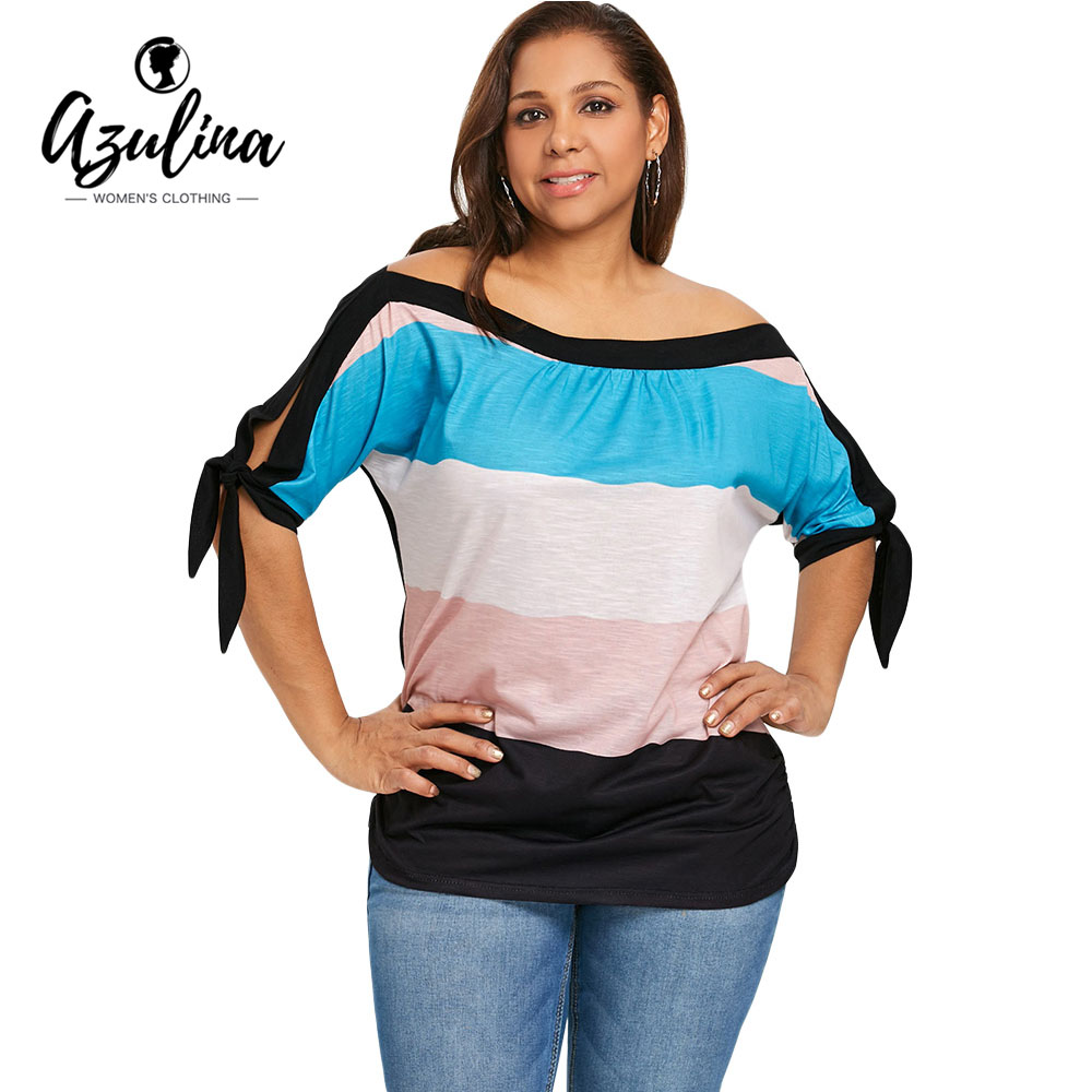 AZULINA Plus Size Off Shoulder Batwing Sleeve Color Block T-Shirts Women T Shirts Half Sleeves Lace Up Tops Tshirt Big Size 5XL