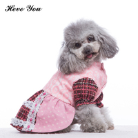 Heve You Pet Dog Dress for Small Dogs Plaid Skirt Puppy Wedding Dresses Lace Princess Party Dog Clothing Pets Apparel XS~XXL