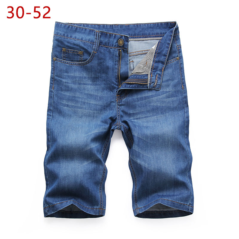 Plus Size 30-52 Summer Denim Baggy Shorts Big Size Male Casual Brand Bermuda Classic Stretch Business Cotton Jeans Short Pants