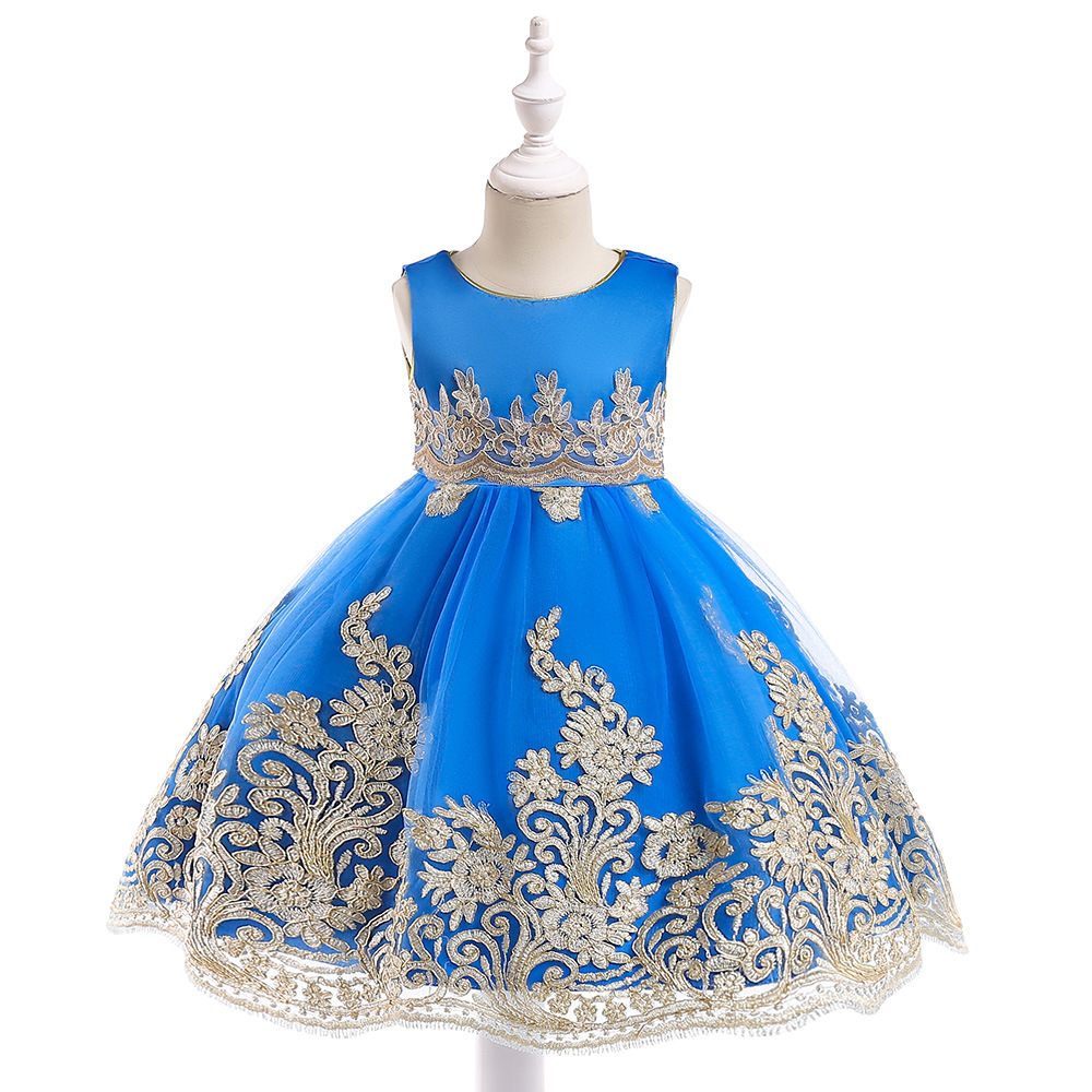 Free shipping 2018 exclusive new children's party dress gold wire embroidery Princess piano concert performance dress  JQ-2005
