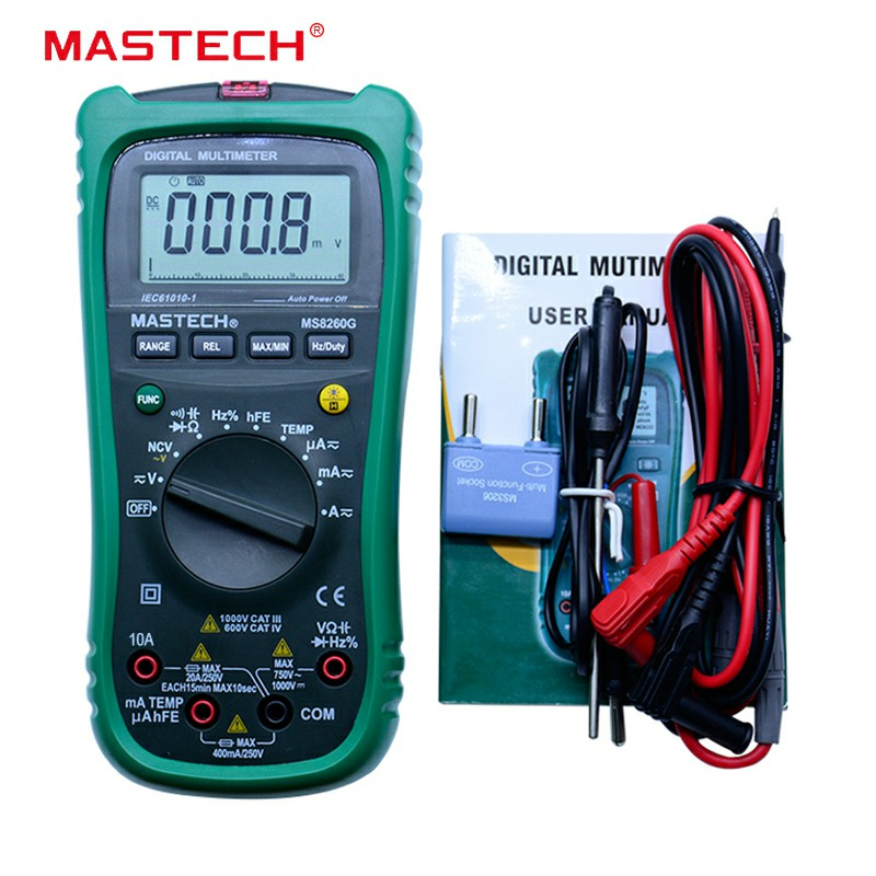 MASTECH MS8260G Auto Range Digital Multimeter ohm voltage current Capacitance Frequency Temperature Meter Newest upgrade mastech ms8260g 2 5 lcd multimeter w test pencils for capacitance frequency temperature