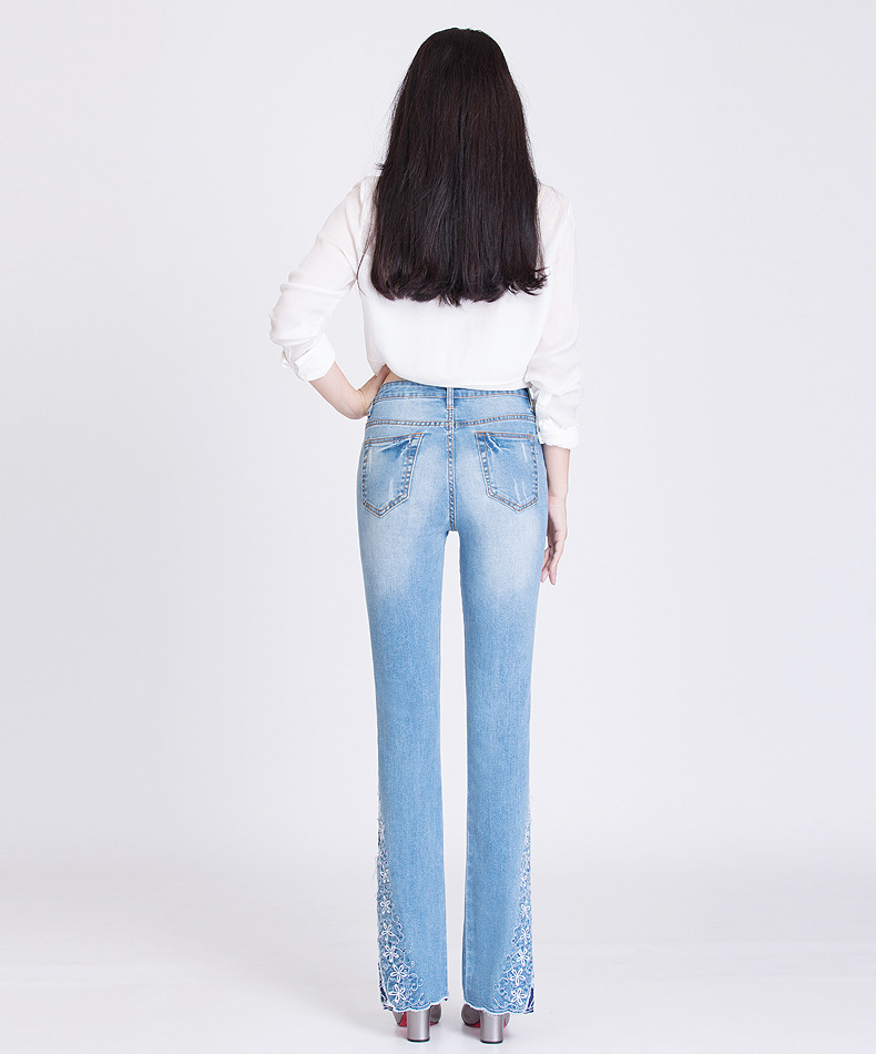 KSTUN FERZIGE New Jeans Woman Embroidered Trousers Lace Bell Bottoms Design Light Blue Stretch High Waisted Jeans Sexy Ladies Mujer 36 23