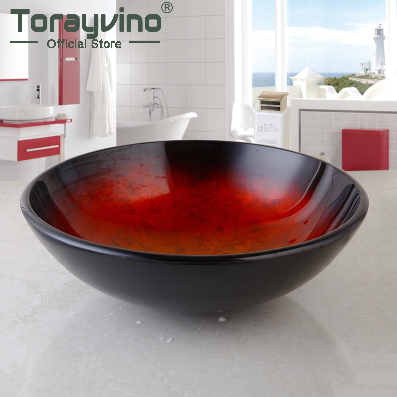 Bathroom Round Tempered Glass Above Counter Wash Basin Cloakroom Counter Top Vessel Sink,Bathroom Faucets fashion style round hand painted artistic victory vessel wash basin tempered glass sink bathroom basin