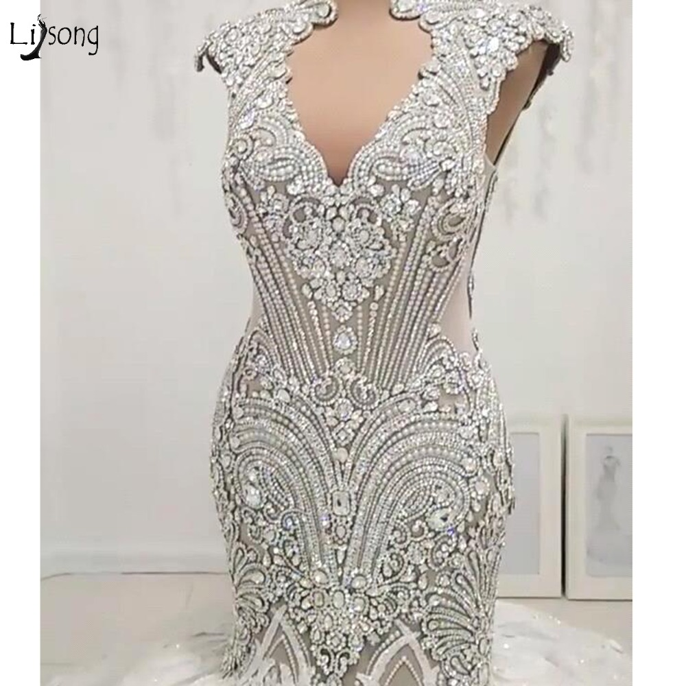 Luxury Sparkle Crystal Mermaid Wedding Dresses 2019 Sexy Lace 3D Flower Beaded Dubai Bridal Gowns Sexy Plus Size See Thru Back