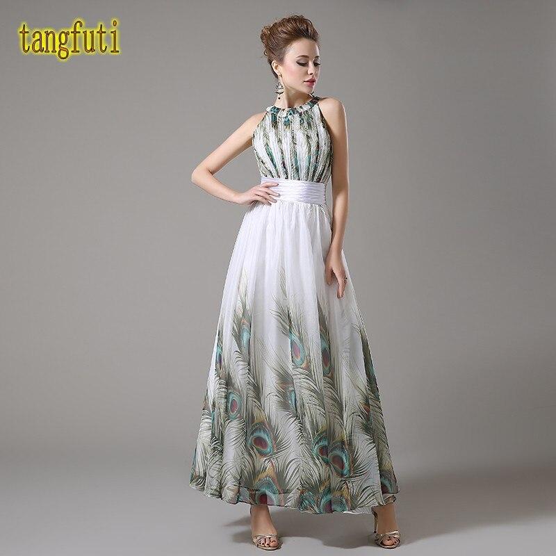 Платье с принтом павлин