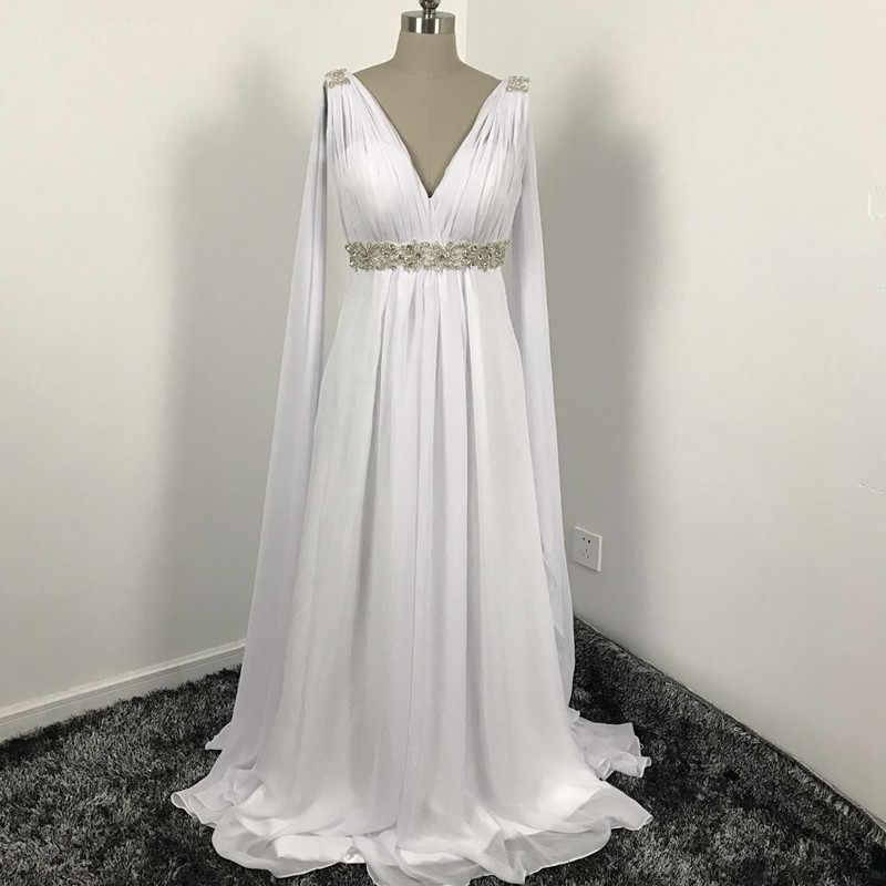 24a3bb9c16379 Greek Style cheap Wedding Dresses with Watteau Train V-neck Long Chiffon  Grecian Beach Maternity