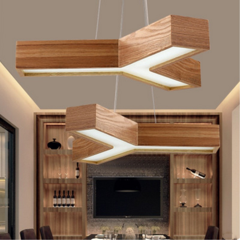Northern Europe  Creative LED Wood Pendant Light Modern Home Art Living Room / Dinner Decoration Lamp Free Shipping modern creative table basse wooden big horse wood craft for art home office theme restaurant living room study decoration tm013m