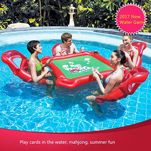 Smartlife Inflatable Water Toys Poker Game Adult Swim Ring Mounts Inflatable Floating Bed Floating Row Toys flamingo white swan inflatable swimming mounts on water floating bed floating row unicorn adult swimming ring