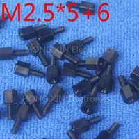 M2.5*5+6 1pcs BLack nylon Standoff Spacer Standard M2.5 Male-Female 5mm Plastic Standoff Repair parts High Quality