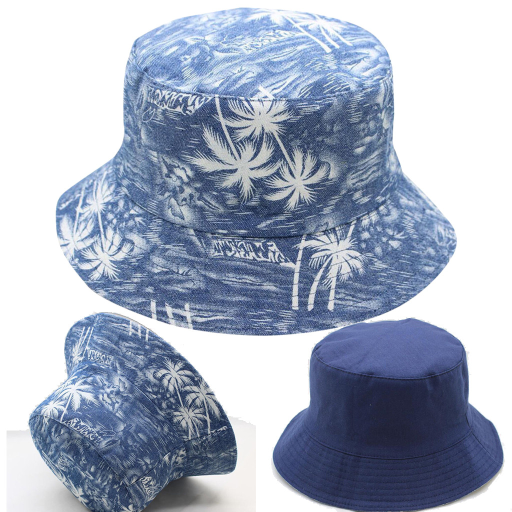 Denim Hat Unisex Casual Coconut Tree Double-sided Wear Collapsible Shade Fisherman Hat Z118