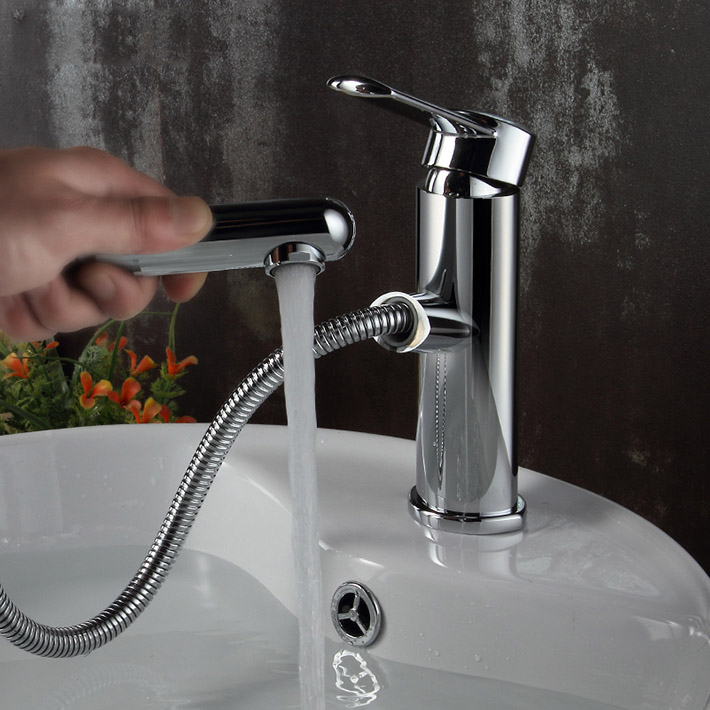 Hot Sale Brass Single Lever Pull Out Spray Bathroom Sink