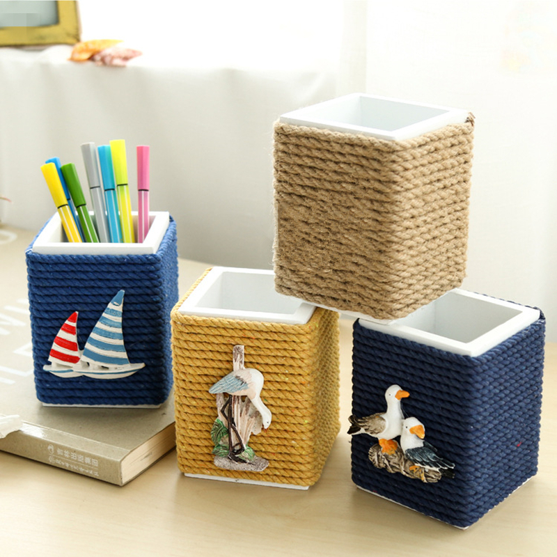 Creative ocean style wooden/hemp rope Pen holder Wood Pen Container Office Supplies stationery Mediterranean style pen holder creative jeans pattern boots shaped pen holder blue