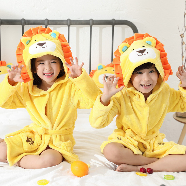 fd7db1275 Winter Children Robe Flannel Warm Kids Kimono Bathrobe Gown Boys ...