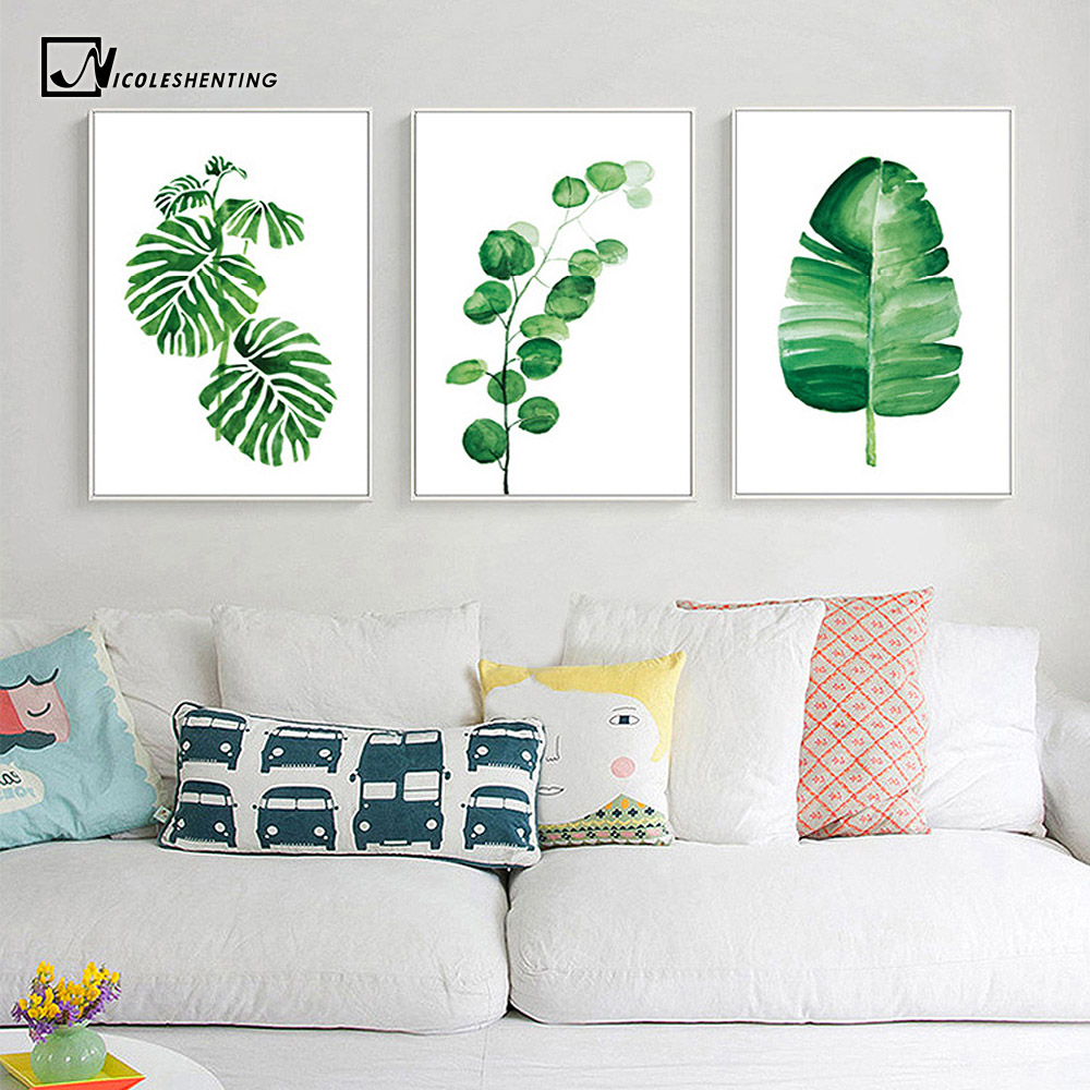 Watercolor Tropical Plants Leaves Wall Art Canvas Posters