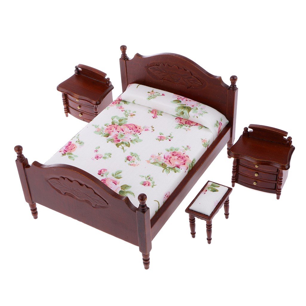 New Hot Sale 1 12 Scale Dollhouse Miniature Bedroom Furniture Bed Bedside Tables Stool Set Of 4pcs Doll House Accessories Gift