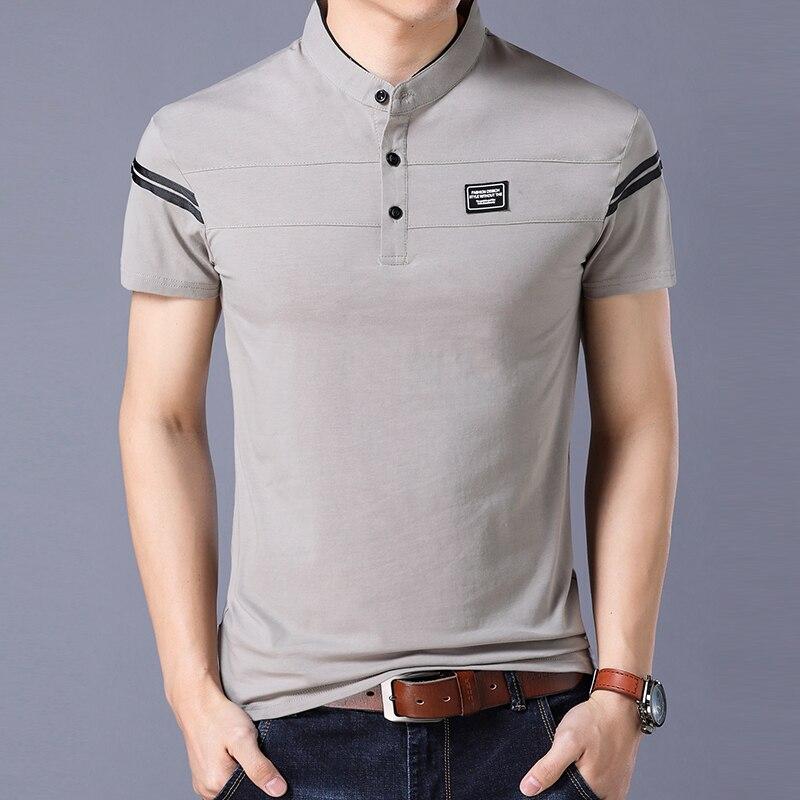 31ddadc63c175 Camiseta de hombre Liseaven 2018 de manga corta con cuello mandarín  camiseta Tops y Camisetas masculinas ropa de hombre. SIZE. c3 c4 c6 c1 c2  ...