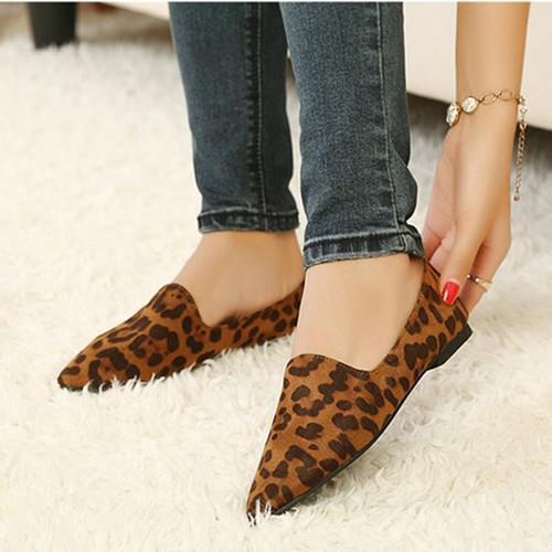Бесплатная доставка 2016 весна новый Женский Леопарда плоские туфли с заостренными плоские большие размер обуви 40-43 квартир Женщин 370