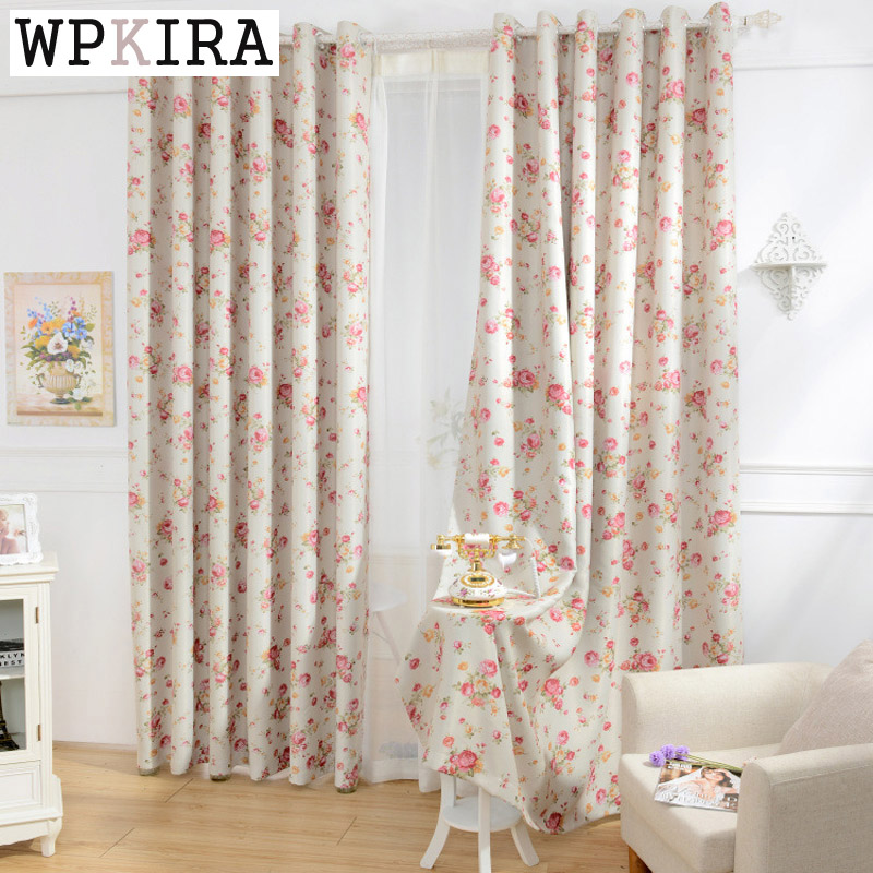 Red floral curtain cloth modern living room blackout curtain cloth decorative door window for Red and cream curtains for living room