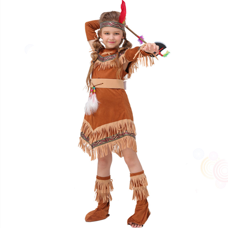 High Quality Coffee Indian Costume For Girls Native -6482