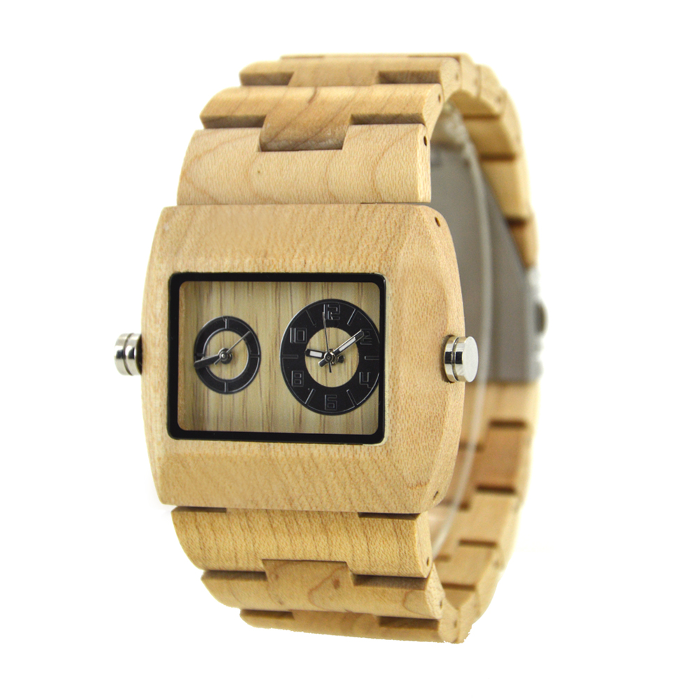 BEWELL Double Dial Quartz Watch For Fashion Man With White Face Case With Original Wood Dropshipping Or Wholesale Watches 021C pure white dial face ziz time watches navy