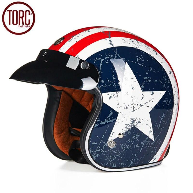 цены  TORC Cruiser Motorcycle Helmet Harley 3/4 Open Face Vintage Helmet T50C Moto Casque Casco motocicleta Capacete DOT Helmets